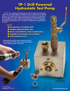 TP-1 Drill Powered Hydrostatic Test Pump Product Sheet